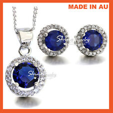 18K WHITE GOLD GF LAB DIAMOND BLUE SAPPHIRE SOLID WEDDING NECKLACE EARRINGS GIFT