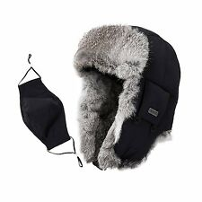 Siggi Mens Rabbit Fur Russian Trapper Hat Black O/S