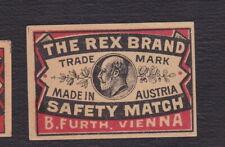 Ancienne étiquette allumettes  Autriche BN122293 The Rex Brand Homme  3