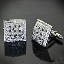 14k White Gold Cuff Links Men's Jewelry Handmade Checkered Square Gift