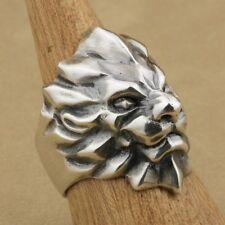 NUOVO! Custom 925 Solido Argento Sterling Astratto Anello Teschio Testa di Leone (tutte le dimensioni)