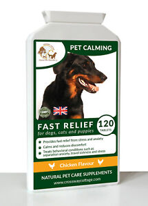 Pet Calming for Stress & Separation Anxiety in Dogs & Cats 120 Tablet