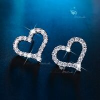 18k white gold filled made with SWAROVSKI CZ crystal heart earrings stud classic