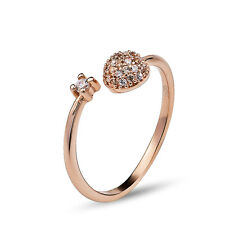 Kim Soo-hyun Engagement Adjustable Open Ring Solid 925 Sterling Silver Rose Gold