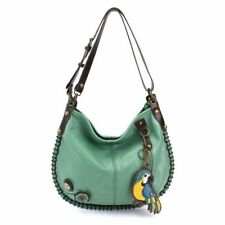 Chala CONVERTIBLE Hobo Large Bag BLUE PARROT Pleather Teal Green w/ Coin Purse