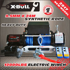 X-BULL 12V 12000LBS Electric Winch 24M Synthetic Rope Wireless Remote 4WD 4x4