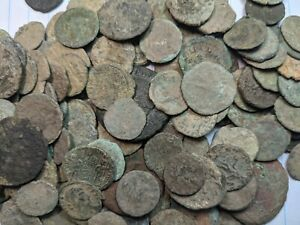 UNCLEANED ANCIENT ROMAN BRONZE COINS. GENUINE! 1600+ YEARS OLD