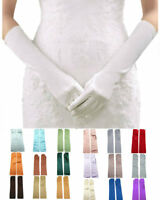 Satin Evening Dress Gloves for Wedding Costume Dance 15 inches length
