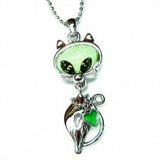 w Swarovski Crystal ~~Green Kitten~ KITTY CAT HEART Pendant Charm Chain Necklace