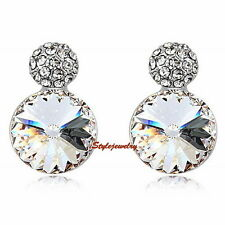 Pretty Silver Diamontic Clear Crystal Bridal Wedding Stud Earring XE61