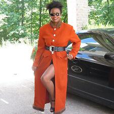Designer Lily & Taylor Full length Orange Mink fur trim wool coat duster M-L -12