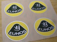 Badge, plastique, Eunos Roadster, style rétro, 55mm, jaune / vert, set de 4 badges