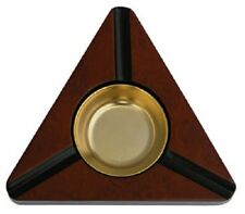 Trianglar Gloss Burlwood 3 Cigar with Metal Insert Cigar Ashtray