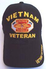 Vietnam Veteran Strapback Hat Headwear Men Black Cap Military Eagle Patch War