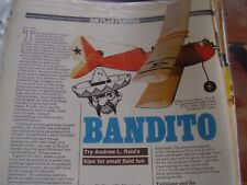 ORIGINAL MODEL AIRCRAFT PLAN WITH BUILD INSTRUCTIONS BANDITO BY ANDREW L REID