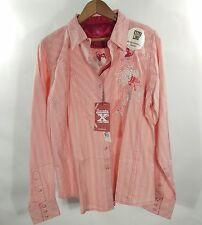 NWT 20x Western Shirt Top Snap Salmon Metallic Thread Size L Extra Long