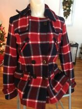 American Eagle Red Navy Plaid Wool Blend Short Pea Coat Women's Size Small