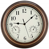 SecreShow 12 Inch Indoor Outdoor Wall Clock Waterproof with Temperature and Non