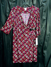 ROBBIE BEE SLINKY KNIT KNEE LENGTH GEOMETRIC BUCKLE SURPLICE SHEATH DRESS~3X~NEW