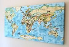 Fabric World Map Decorative Posters & Prints