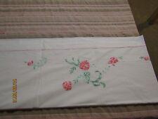 Magnifique drap en coton et sa taie de traversin brodé dahlias roses