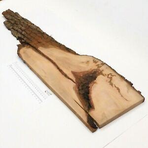 Waney Edged English Pear wood board. 250 x 840 x 22mm. Plank bark shelf. 4817