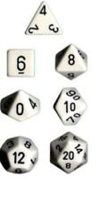 Chessex Dice Polyhedral 7 Die Set - Opaque White / Black - DND / Roleplay etc