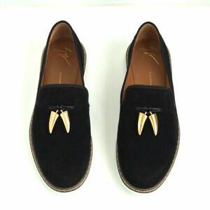 GIUSEPPE ZANOTTI Men's Black Gold-tone Feature Slippers - Size 41 (EU) - 8 (US)