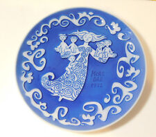 "Mors Dag 1972 Mother Day Royal Copenhagen Denmark 6"" Blue Collectors Plate"