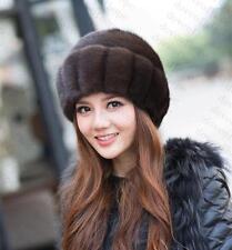 Winter Women Real New Mink Fur Hat Cap Headgear Beanie Beret QS 0001.3