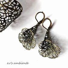 Ohrringe mit MESSING-Blüten, Bronze-Vintage-Look, Ohrhänger, 0424