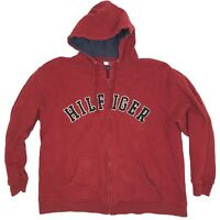 Vintage 90s Tommy Hilfiger Zip Up Sweatshirt Hoodie - Size XL - Red