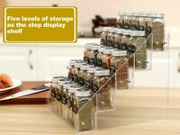 AmHoo Acrylic Spice Rack 5 Tiers Seasoning Shelf Kitchen Spice Rack Organizer