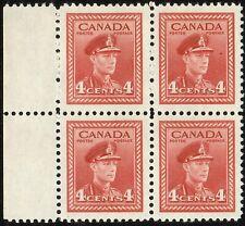 1943 CANADA KING GEORGE VI 4¢ STAMP BLOCK, MINT MNH, Scott #254, SCV US$2.40