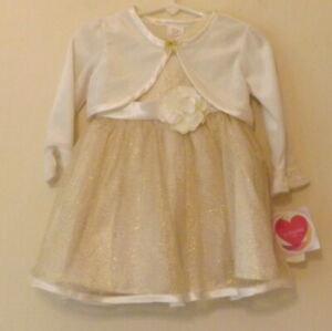Youngland Baby, Gold party dress and bolero, age 18 mths, NWT