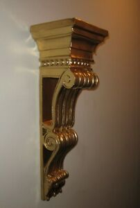 "Vintage Large Resin Adams Corbel Accent Shelf Gold 29"" High"