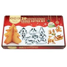 8PCS*DIY 3D Christmas Scenario Cookie Mould Stainless Steel Cookie Mould Xmas