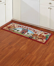 LONG COUNTRY ROOSTER BARN RUG CHICKEN HEN Cabin Cottage Shabby Farmers Market