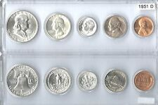 1951-D US  Mint Set - 5 Choice BU Coins in a clear Whitman holder