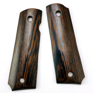 2pcs Natural Wenge Wooden Textured Patches Handle Scales for 1911 Grips Models