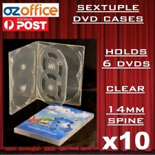 10 X Premium Quality Sextuple Clear DVD Case Holds 6 DVD Covers 14mm Spine