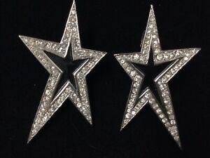 VINTAGE HIGH END TRIFARI ENAMEL RHINESTONE STAR EARRINGS ESTATE COSTUME JEWELRY
