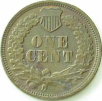 1869 Indian Head Penny / Small Cent in SAFLIP® - XF- (VF+++) Details