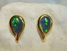 Yellow Gold Fine Earrings Triplet Opals