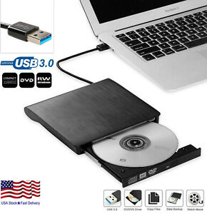 Slim External CD DVD Drive USB 3.0 Disc Player Burner Writer For Laptop Mac PC