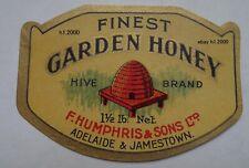 More details for very rare antique victorian f.humphris adelaide finest garden honey  jar label