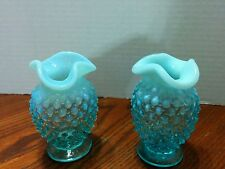 "Pair of Fenton Art Glass Light Blue Hobnail Opalescent Small 3 1/2""  Vase"