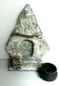 Miniature fake stone FIREPLACE wood cauldron dollhouse  Cottage Halloween OOAK