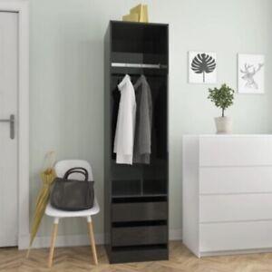 High Gloss Black Wardrobe 50x50x200 cm Chipboard Storage Single Large