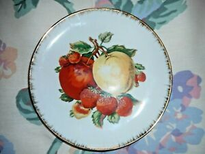 """FRUIT MOTIF Gold-Rimmed Plate Dish Candy Cookies Nuts UNUSED Smoke-free 6"""""""